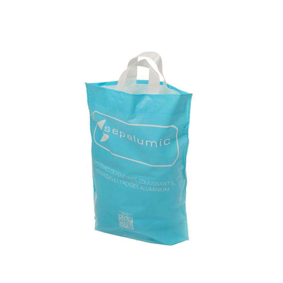 Sacs plastique publicitaires réutilisables à anse souple